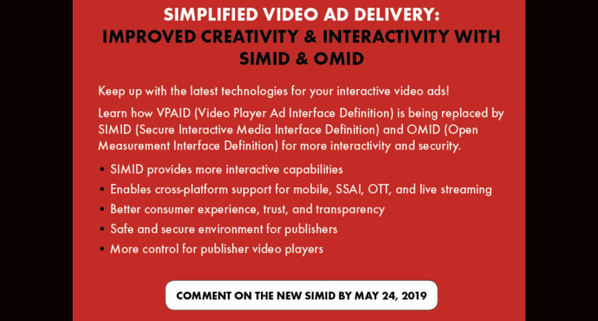 L'advertising Video si semplifica: SIMID è pronto a sostituire VPAID